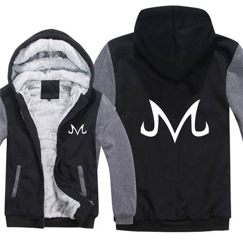 Majin Demon Symbol Thick Winter Hoodie Black and Gray