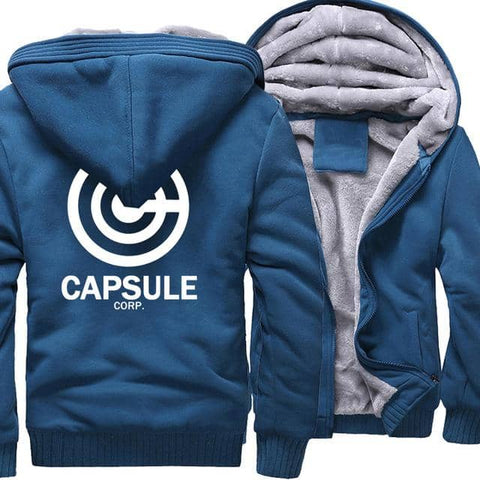 Dragon Ball Z Thick Winter Capsule Corp Hoodie Blue - Superhero Gym Gear