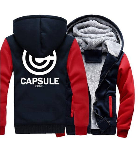 Dragon Thick Winter Capsule Hoodie Dark Blue and Red - FitKing
