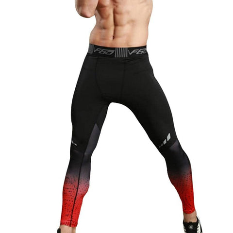 Men's Fitness Compression Pants Black Fireburst - Superhero Gym Gear