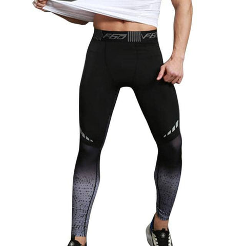 Men's Fitness Compression Pants Black Fade - Superhero Gym Gear