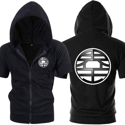 Dragon Ball Z Black Zip up Short Sleeve Hoodie - Symbol 1 - Superhero Gym Gear