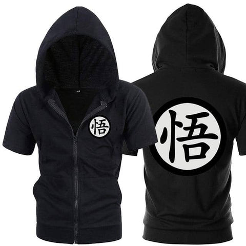 Dragon Black Zip up Short Sleeve Hoodie - Symbol 2 - Superhero Gym Gear