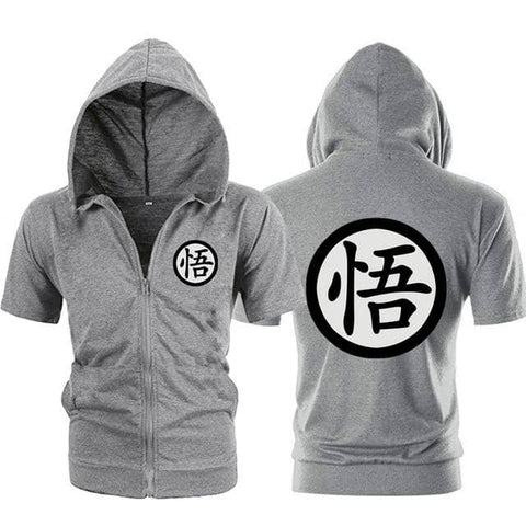 Dragon Gray Zip up Short Sleeve Hoodie - Symbol 2 - Superhero Gym Gear