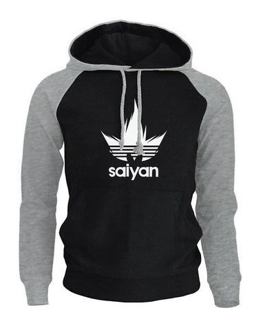 Dragon Saiyan Hoodie Collection Gray and Black - Superhero Gym Gear