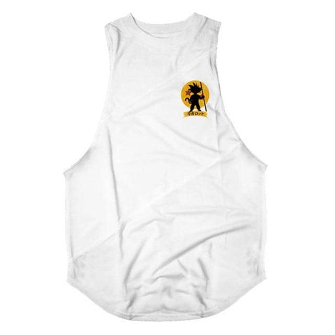 Dragon Warrior Cross Seam Tank White - Superhero Gym Gear