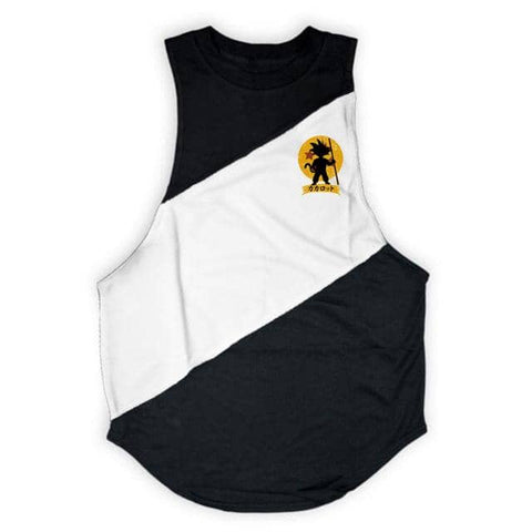 Dragon Warrior Cross Seam Tank Black and White - Superhero Gym Gear