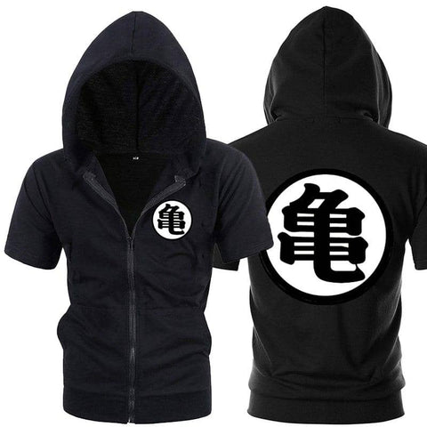 Dragon Ball Z Black Zip up Short Sleeve Hoodie - Symbol 3 - Superhero Gym Gear