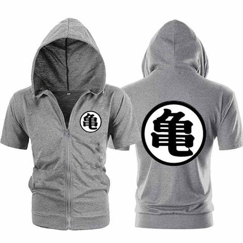 Dragon Ball Z Gray Zip up Short Sleeve Hoodie - Symbol 3 - Superhero Gym Gear