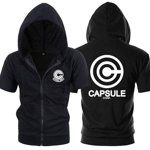 Dragon Capsule Black Zip Up Short Sleeve Hoodie - FitKing
