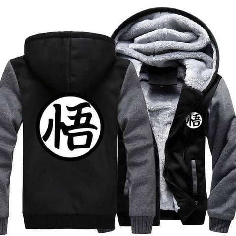 Dragon Warrior Thick Winter Hoodie Black and Gray - FitKing