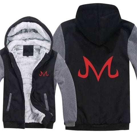 Dragon Majin Symbol Thick Winter Hoodie Black Gray with Red M - Superhero Gym Gear