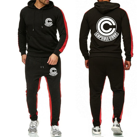 Dragon Capsule Tracksuit Saiyan Style Hoodie and Joggers Black - Superhero Gym Gear