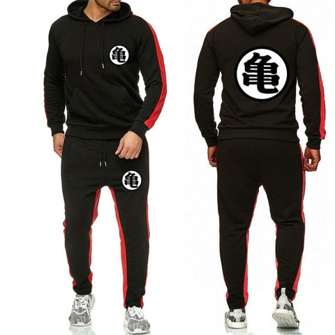 Dragon Tracksuit Saiyan Style Hoodie and Joggers Black - Superhero Gym Gear