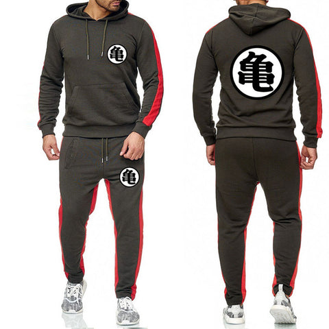 Dragon Tracksuit Saiyan Style Hoodie and Joggers Dark Grey - Superhero Gym Gear