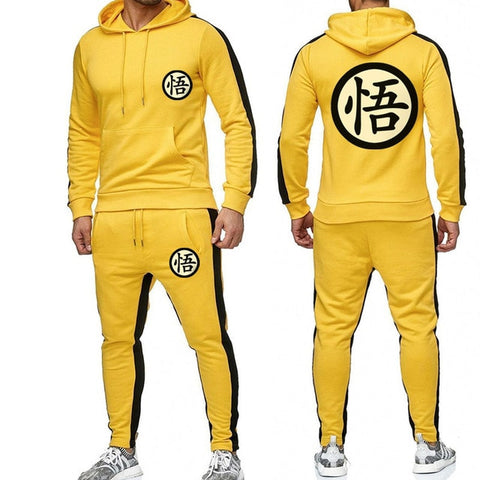 Dragon Warrior Tracksuit Saiyan Style Hoodie and Joggers Yellow - Superhero Gym Gear