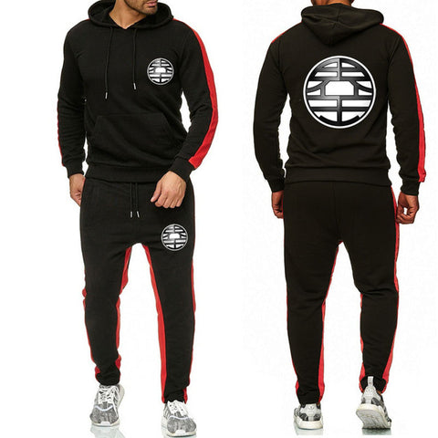 Dragon King Tracksuit Saiyan Style Hoodie and Joggers Black - Superhero Gym Gear