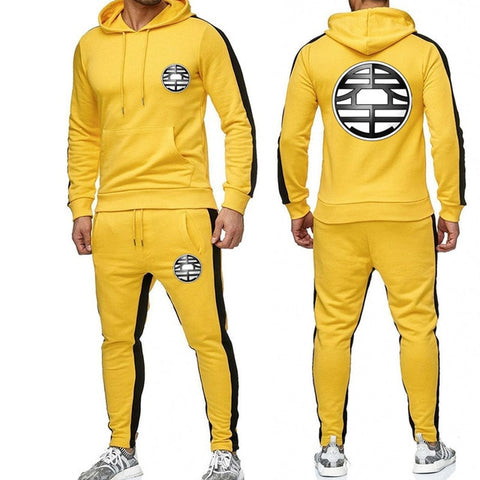 Dragon King Tracksuit Saiyan Style Hoodie and Joggers Yellow - Superhero Gym Gear