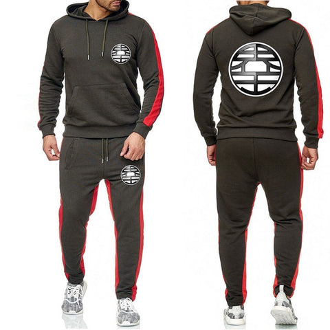 Dragon King Tracksuit Saiyan Style Hoodie and Joggers Dark Gray - Superhero Gym Gear