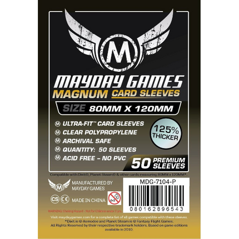 MDG 80x120mm Magnum Gold Ultra-Fit Card Sleeves Black Backed Premium 50/pk