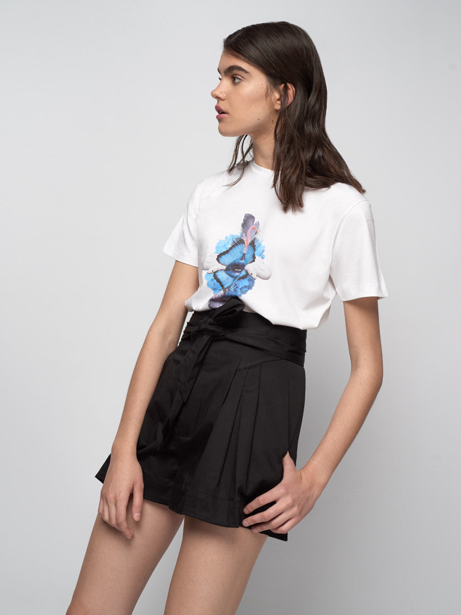 White snake, flamingos, butterflies, lips, t shirt, tee, black short shorts, host and star