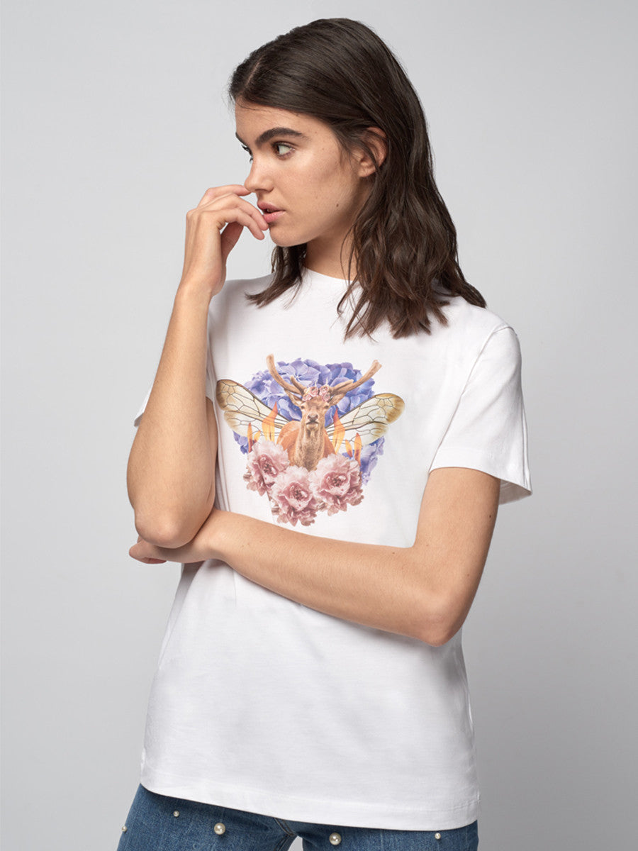 Deer antlers, insect lore, flames, flower crown, white t-shirt, flowers, host and star