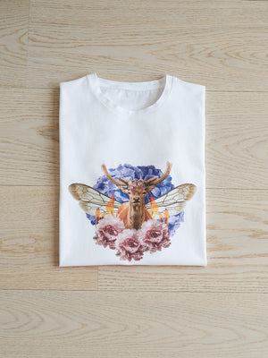 White tee, t-shirt, Deer, crown, flowers, insect wings, host and star