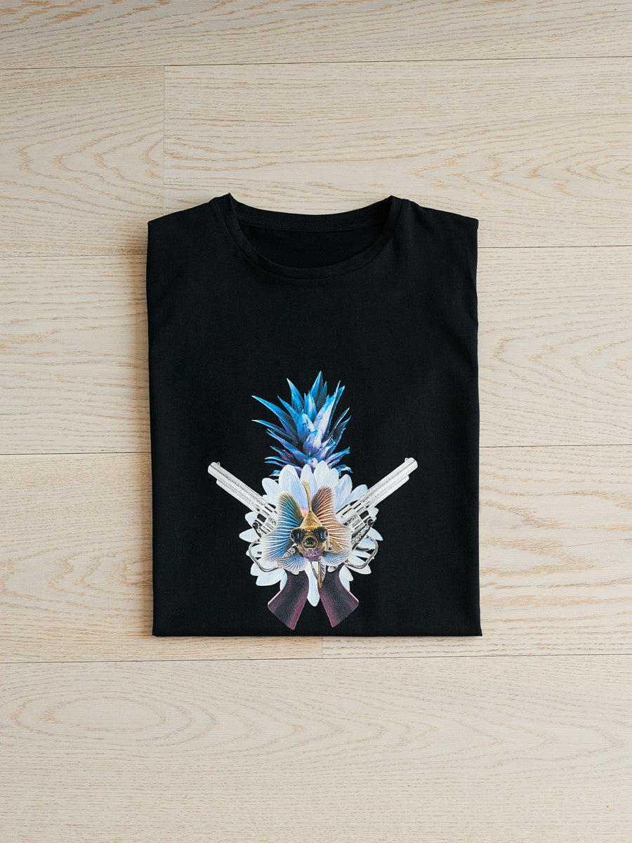 cute, fish, guns, pineapple, black, tee, t-shirt, host and star, blue, flower, folded