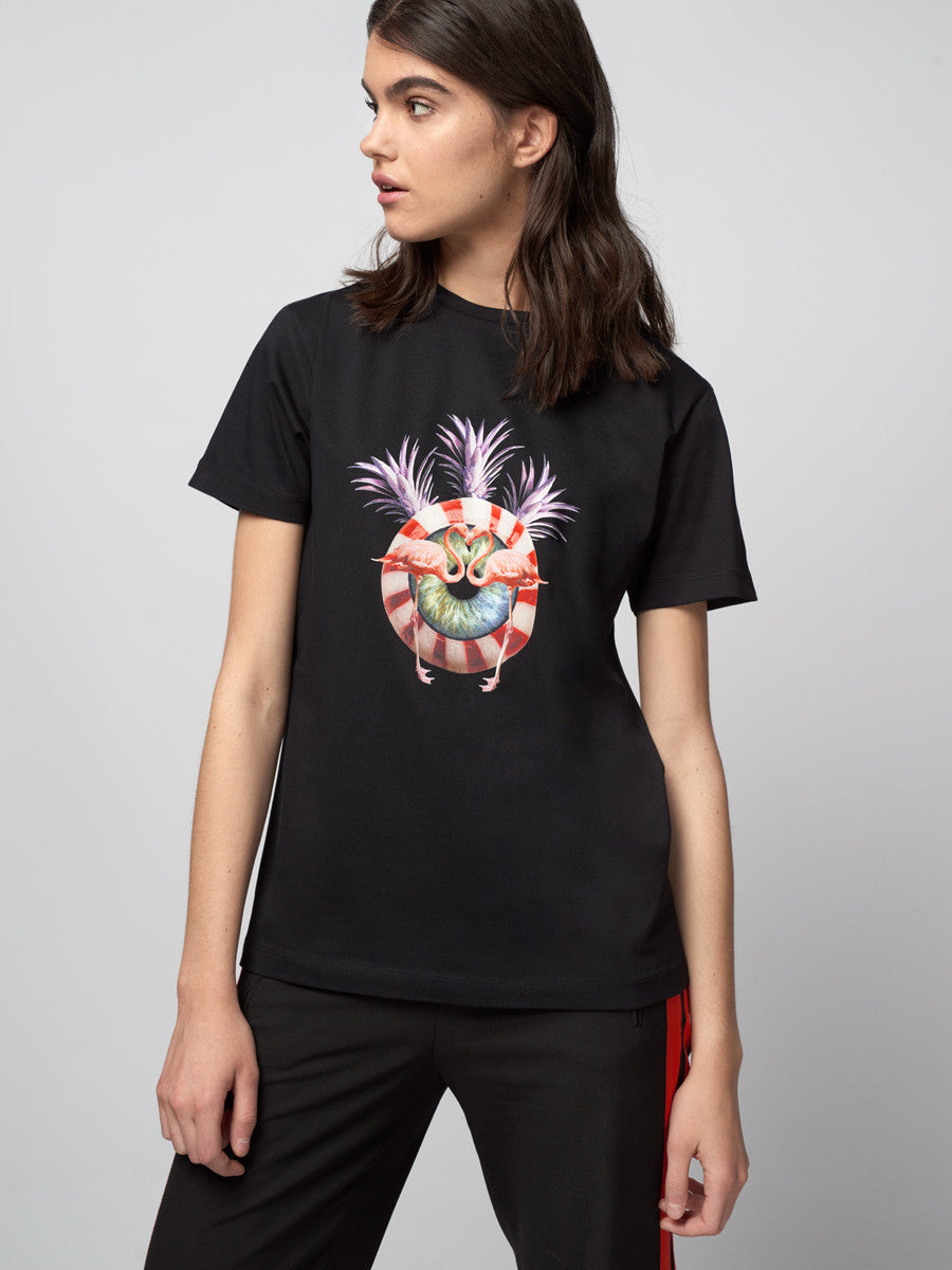eye, candy, flamingo, flamingos, tee, t-shirt, host and star, luxury, black, iris, design, arty