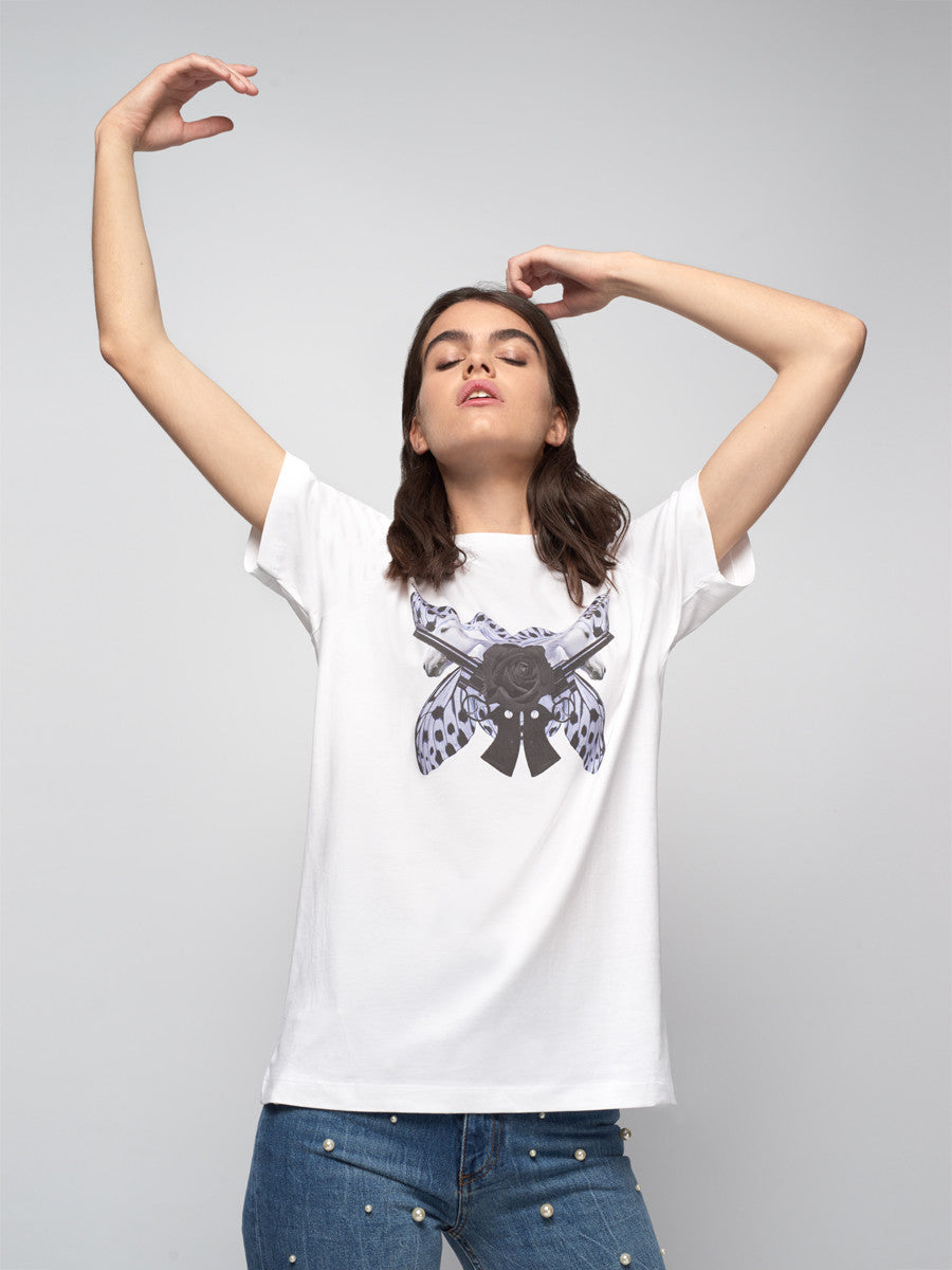 Unicorn, unicorns, t-shirt, tee, white, butterfly, guns, revolver, mirror, host and star, folded, luxury
