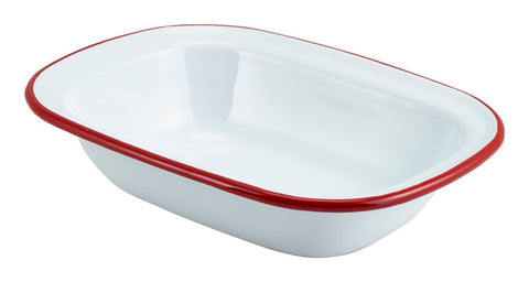Genware 44020WHR Enamel Rect. Pie Dish White with Red Rim 20cm