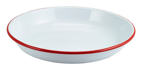 Genware 45624WHR Enamel Rice/Pasta Plate White with Red Rim 24cm