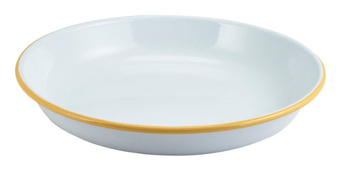 Genware 45624WHY Enamel Rice/Pasta Plate White with Yellow Rim 24cm