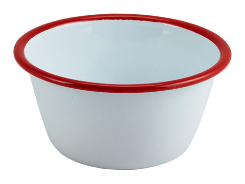 Genware 59512WHR Enamel Round Deep Pie Dish White with Red Rim 12cm