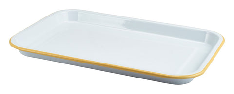 Genware 942933WHY Enamel Serving Tray White with Yellow Rim 33.5x23.5x2.2cm