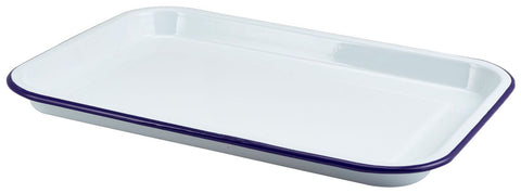 Genware 942933WH Enamel Serving Tray White with Blue Rim 33.5x23.5x2.2cm