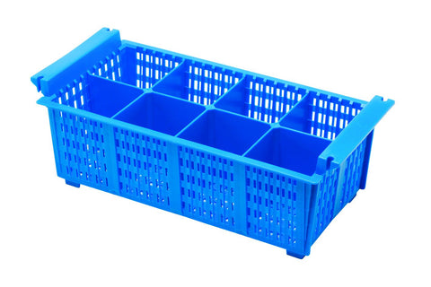 Genware CB8 8 Compart Cutlery Basket (Blue)430X210X155mm