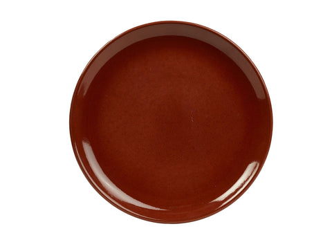 Genware CP-R19 Terra Stoneware Rustic Red Coupe Plate 19cm