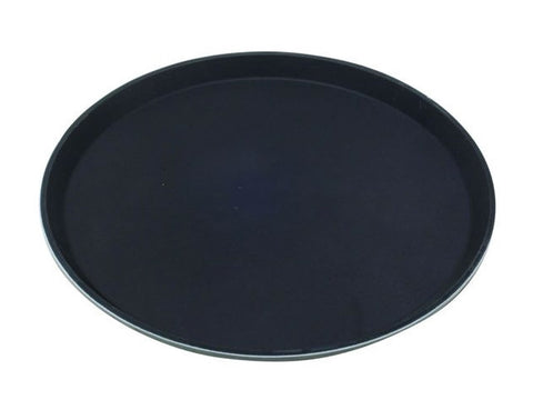 "Genware 1100GR-004 Tray Gengrip Fibreglass Round 11"" Black, Trays, Advantage Catering Equipment"