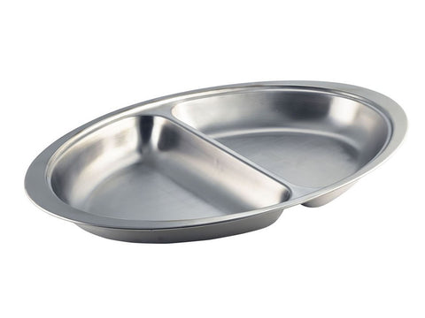 "Genware 1162 S/St.2-Div.Oval Veg.Dish 8"", Table Service, Advantage Catering Equipment"