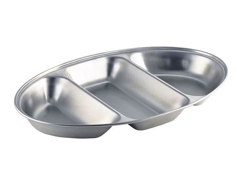 "Genware 12563 S/St.3 Div.Oval Veg Dish 14"", Table Service, Advantage Catering Equipment"