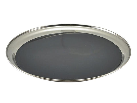 "Genware 52039NS Non Slip Stainless Steel Round Tray 12"", Trays, Advantage Catering Equipment"