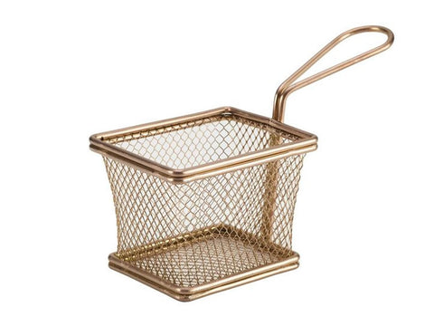 Genware SVB1008C Copper Serving Fry Basket Rectangular 10 x 8 x 7.5cm, Table Presentation, Advantage Catering Equipment