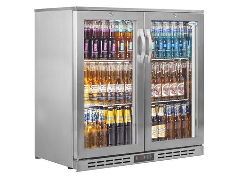 Interlevin PD20H SS Stainless Steel Double Door Back Bar Cooler