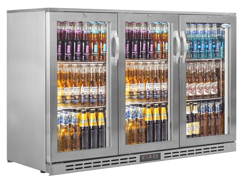Interlevin PD30H SS Stainless Steel Three Door Back Bar Cooler, Bottle Fridges, Advantage Catering Equipment