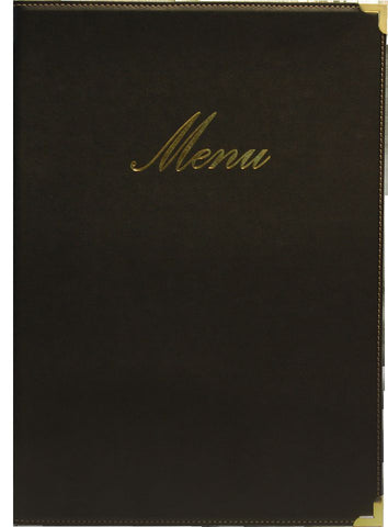 Genware MC-CRA5-BL Classic A5 Menu Holder Black 4 Pages