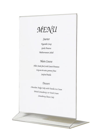 Genware MHA5 Acrylic Menu Holder A5 Size, Menu,Signs & Display, Advantage Catering Equipment