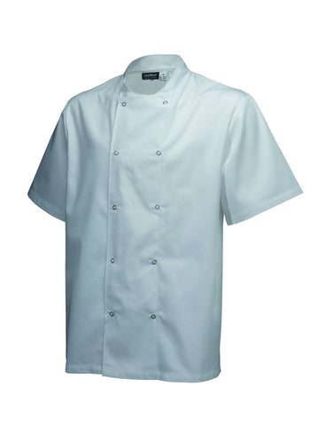 Genware NJ18-XL Basic Stud Jacket (Short Sleeve) White XL Size, Clothing & Footwear, Advantage Catering Equipment