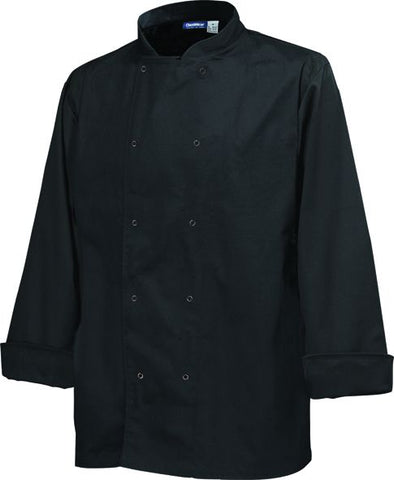 Genware NJ19-XL Basic Stud Jacket (Long Sleeve) Black XL Size, Clothing & Footwear, Advantage Catering Equipment