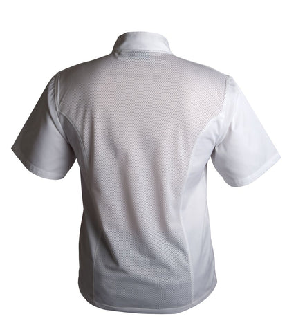 Genware NJ21-S Coolback Press Stud Jacket (Short Sleeve) White S